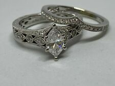 Wedding Bands 10k Solid White Gold Marquise Diamond Wedding Set Engagement Ring