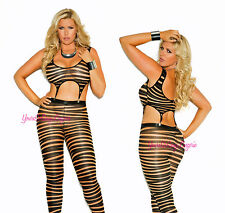 Plus Size Striped Bodystocking GARTER CLIPS Footless Black Nude Spandex 2 Piece