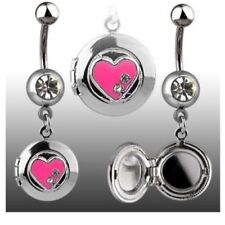 HEART LOCKET CZ BELLY NAVEL RING GEM DANGLE BUTTON PIERCING JEWELRY B540