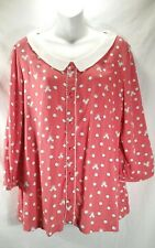 Disney Collection Lauren Conrad Peter Pan Collar Blouse Pink Mickey Dot Sz L  1C