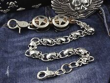 Mens Star Metal Skulls Biker Trucker Rock Wallet Chain Jeans Keychain