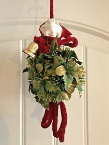 Elf In The Hanging Ball Floral Green Gold Glitter Topiary Christmas Mistletoe