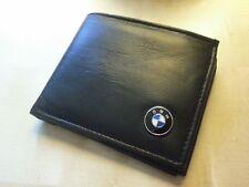bmw wallet soft genuine leather bi-fold quality new metal enamel badge black