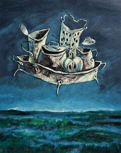 Yosl BERGNER Vanitas - Surrealist Original Signed Screenprint, Landscape + LOP