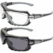 2 Pair Octane Padded Motorcycle Glasses Gray with Clear and Smoke Lens