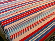 "Kohl's Brand Red White Blue Multi Stripe Tablecloth 60"" x 82""  Rectangle EUC"