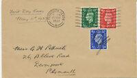 "2414 1937 King George VI 1/2, 1, 2 1/2d FDC FD-Machine-Cancel ""PLYMOUTH DEVON"""