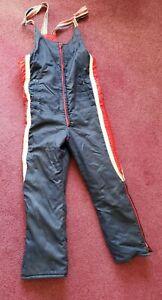 Vintage Polaris Snowmobile Overall Bib Pants Men's Large 1970's Blue Red White