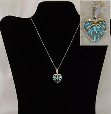 "Paraiba Apatite Heart Necklace 14K Gold & Platinum/Silver 20"" Chain TGW 1.40 cts"