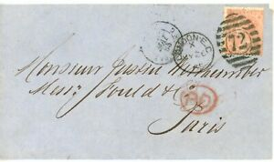 GREAT BRITAIN--Cover sent to Paris in 1865 franked with Scott #34