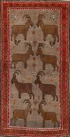 Tribal Animal Pictorial Gabbeh Oriental Area Rug Hand-knotted Wool 4x6 Carpet