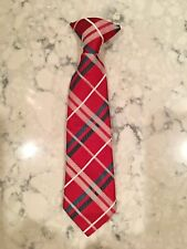 """Boy's Clip-on Tie Black Red Green White Plaid 10"""" long ~ Very nice!"""