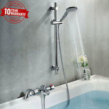Bath Shower Mixer Thermostatic Valve Tap Round Head Wall Mounted Bathroom Kit