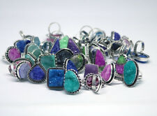 Wholesale Lot !! 100 PCs Natural Mix Druzy .925 Silver Plated Gemstone Rings