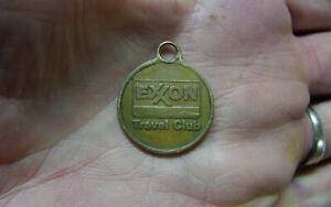 "Vintage Exxon Travel Club Brass Key Fob,1"" Diameter,Xlint Condition,Clean It Up!"