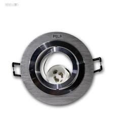 10x Einbauleuchte Rund, Aluminium gebürstet schwenkbar, GU10 230V Einbaustrahler