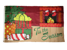 3x5 Merry Christmas 'Tis The Season Fireplace Gifts Holiday Flag 3'x5' Banner