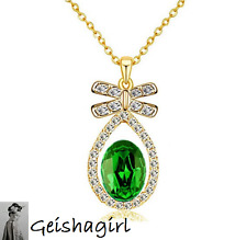 Wedding Prom Emerald Green CZ Gem Tear Drop Gold Plated Pendant Necklace UK Sell