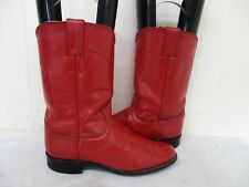JUSTIN Red Leather Roper Cowboy Boots Womens Size 6.5 C Style L3055 USA