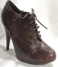 Breckelles Kendra-22 Lace Up Brown High Heel Oxford Bootie Wmns 8 M Stiletto Zip
