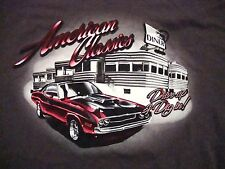 American Classic Muscle Hot Rod Car & Diner Drive Up and Dine In T Shirt M