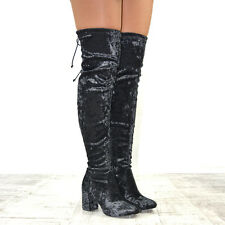 Womens Over The Knee Stretch Velvet Ladies Block Heel Lace Up Thigh High Boots