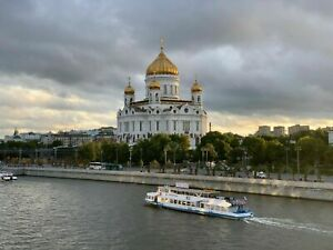 Photo Picture Moscow River Cathedral Evening Sunset