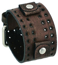 Nemesis FLH-B 24mm Lug Width Wide Faded Brown Perforated Leather Cuff Watch Band