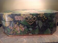 "Vtg Wood & Solid Brass Victorian Floral Storage Chest 18""wide 13""deep 7""tall"