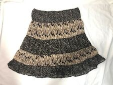 Mix Nouveau Size 2X Womens Skirt Gypsy Style Brown Lined Geometric Print
