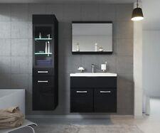 Meuble de salle de bain Rio LED 60 cm lavabo Noir brillant - Armoire de rangemen
