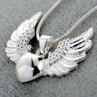 Vintage Women 925 Silver Angel Wing Pendant Necklace Chain Jewelry Gift Fashion