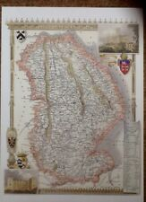 Decorative County Map Of Lincolnshire, By Thomas Moule 1830, Grimesthorpe Castle