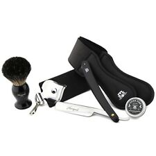 Barber Wet Shaving Traditional Set Badger Brush, Straight Razor & Leather Strop
