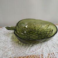 Vintage  Indiana Green Glass Grape embossed Serving Bowl - Grapes Shape