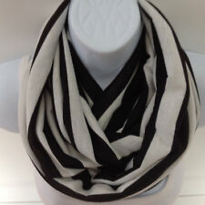 Cotton Striped Black and white infinity scarf, circle scarf, bestselling scarf