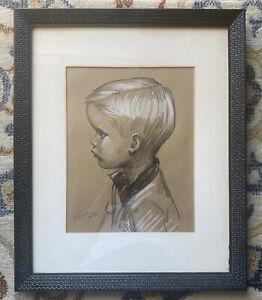 "Antique/Vintage 1913 charcoal Boy portrait-drawing-signed-22"" H X 18"" W"