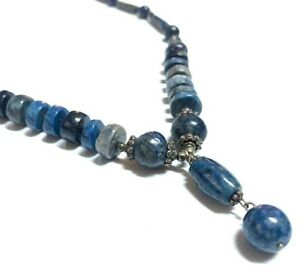 Vintage lapis lazuli stones necklace with high grade silver