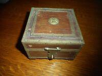Vintage Wooden Box With Brass Trim