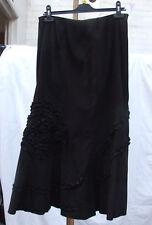 Stunning Black Flared Long Skirt Elastic Waist Floral Pinch Pattern UK sz 12