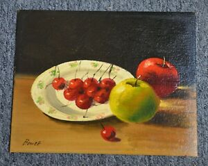 Antique 8x10 Oil on Board Still Life Fruit Painting Signed Bonett