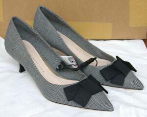 Zara Damenschuhe Pumps Gr. 39 grau kariert Checked Mid-heel Shoes NEU