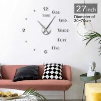 HUGE Wall Clock 47/27 Inches Giant Design Letters DIY Living Room Home Decor