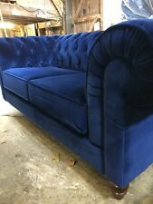 Chesterfield Sofa in Deluxe Blue Velvet Large 3 Seater