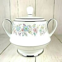 Noritake Blythe 2037 Sugar Bowl with lid Blue Pink Purple Flowers Platinum Trim