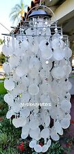 SOLAR CAPIZ SHELL WINDCHIMES/CHANDELIER White COLORS CAPIZ CHIMES-square Large