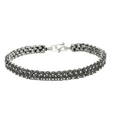 Silverly .925 Sterling Silver Vintage Art Deco Style Oxidised Flower Bracelet