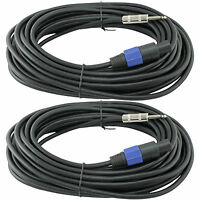 2 PRO audio speakon plug to 1/4 inch  25FT foot SPEAKER CABLES 14 GA GAUGE WIRE