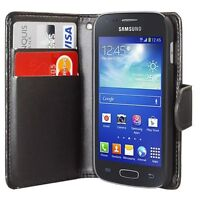 BLACK WALLET Plain phone Case Card Slots for SAMSUNG GALAXY ACE-3 S7270 S7272