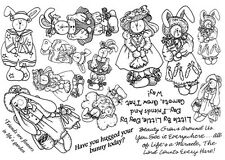 Unmounted Rubber Stamps Sheets, Whimsical, Bunny Stamps,  Bunnies, Dolls, Rabbit